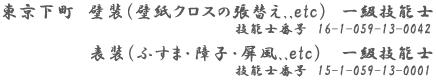 東京下町の     表具・経師屋内田